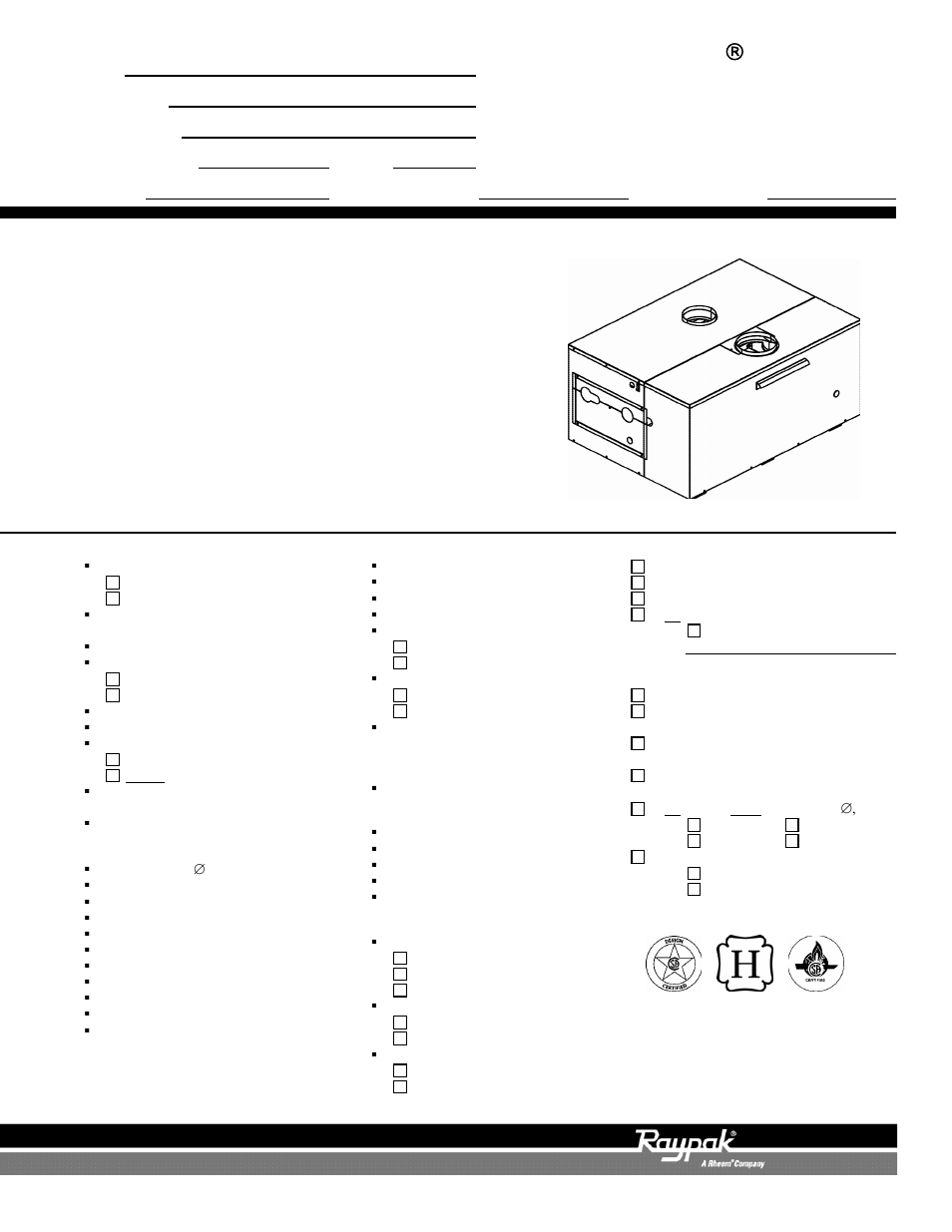 Raypak 122-322 User Manual | 2 pages