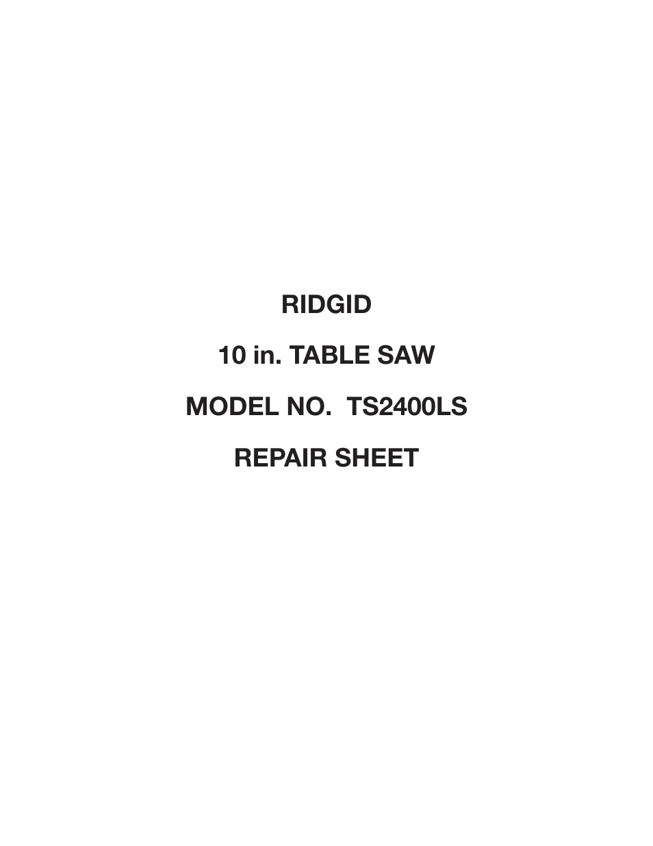 Marvelous Ridgid Ts2400Ls User Manual 39 Pages Download Free Architecture Designs Scobabritishbridgeorg