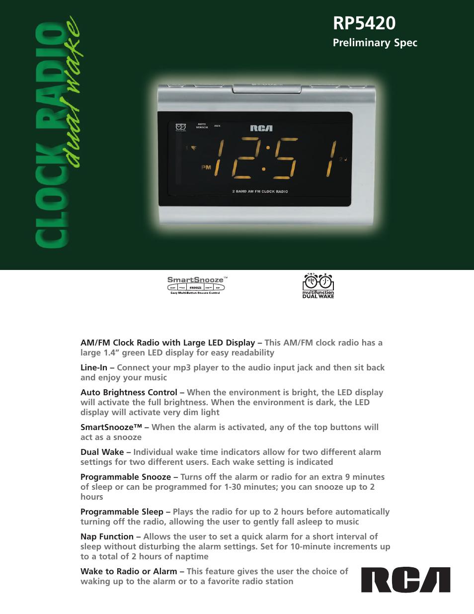 rca rp5420 user manual 2 pages rh manualsdir com RCA Dual Clock Radio Manual rca 2 band clock radio manual