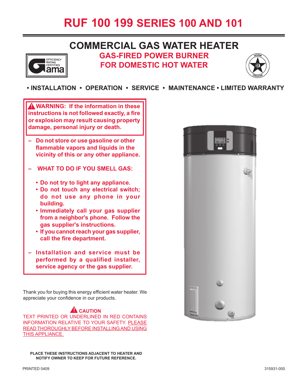 Reliance water heaters ruf 100 199 series 101 user manual for Hot water heater 101