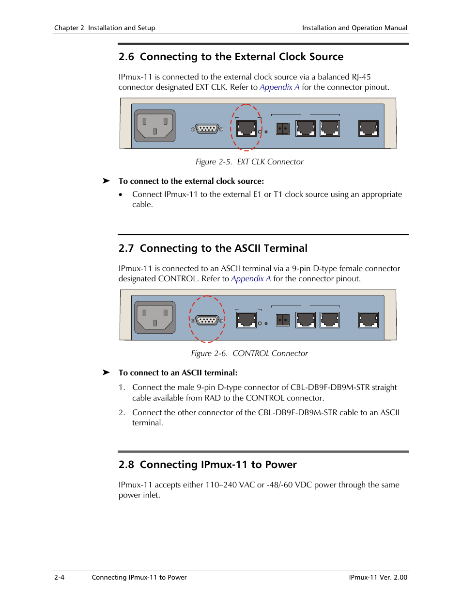 6 connecting to the external clock source, 7 connecting to