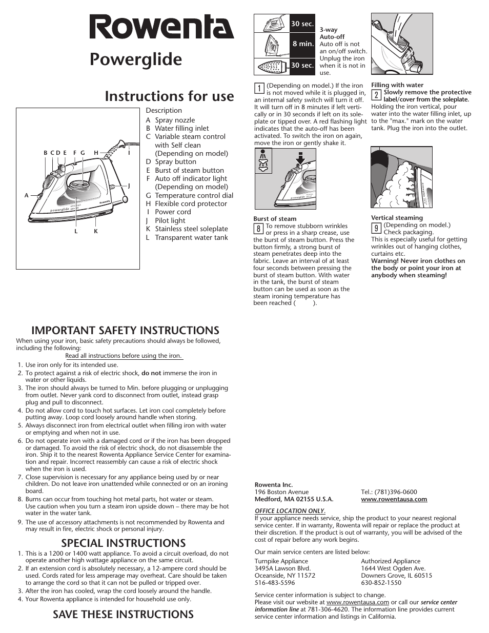 Rowenta Powerglide Steam Iron User Manual