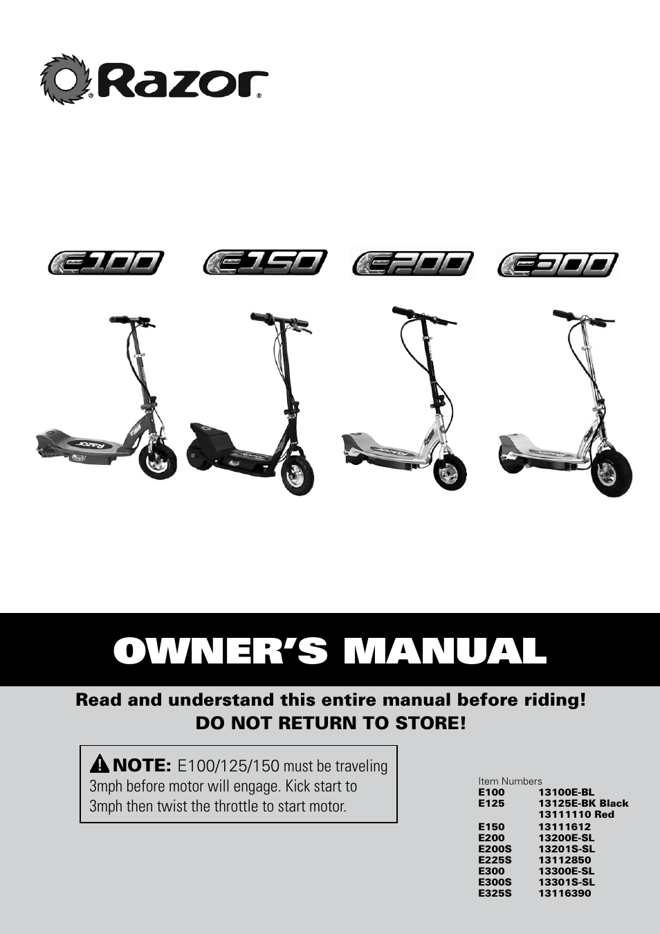 razor e300 user manual 24 pages also for e200 e150 e325s rh manualsdir com razor e200 electric scooter owners manual razor e200 electric scooter owners manual