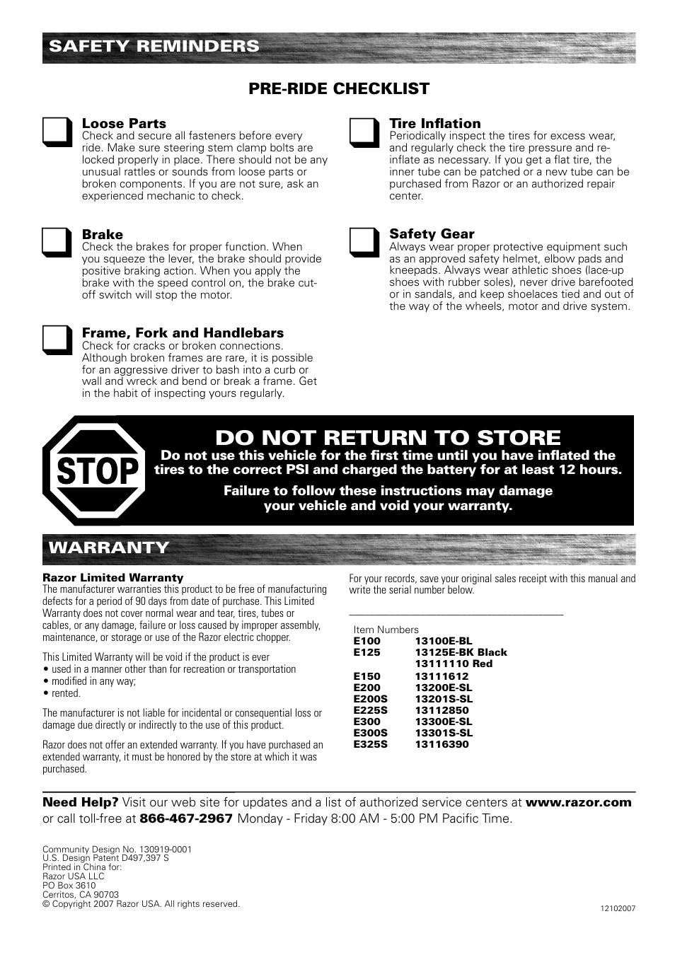 Razor E300 Control Box Wiring Diagram Chopper Battery E200 Do Not Return To Store Warranty Safety Reminders User E