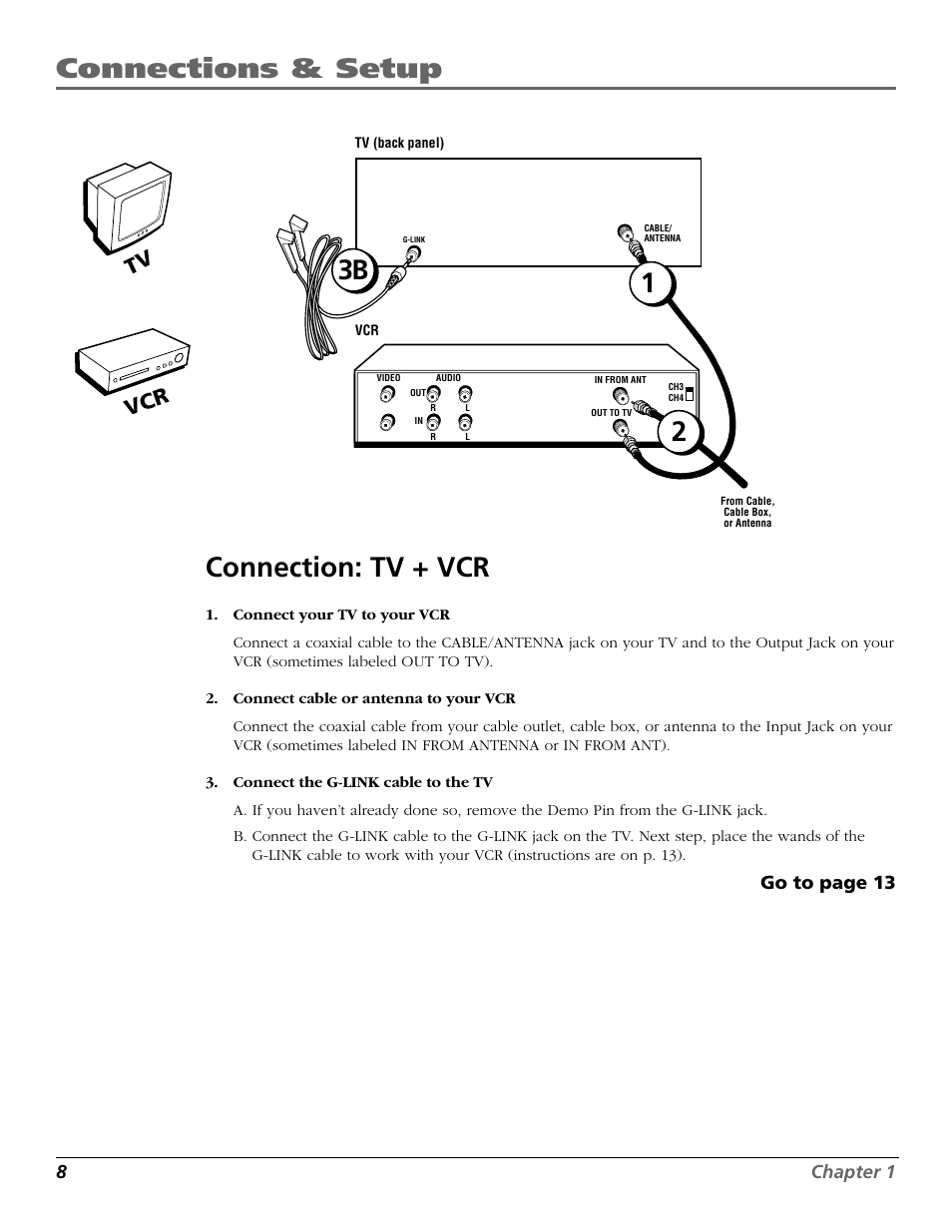 Connections & setup, 23b 1 connection: tv + vcr, Tv vcr | RCA F25422 ...