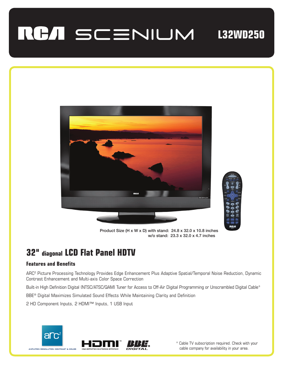 rca l32wd250 user manual 2 pages rh manualsdir com RCA 32 in LCD RCA 32 Inch HDTV