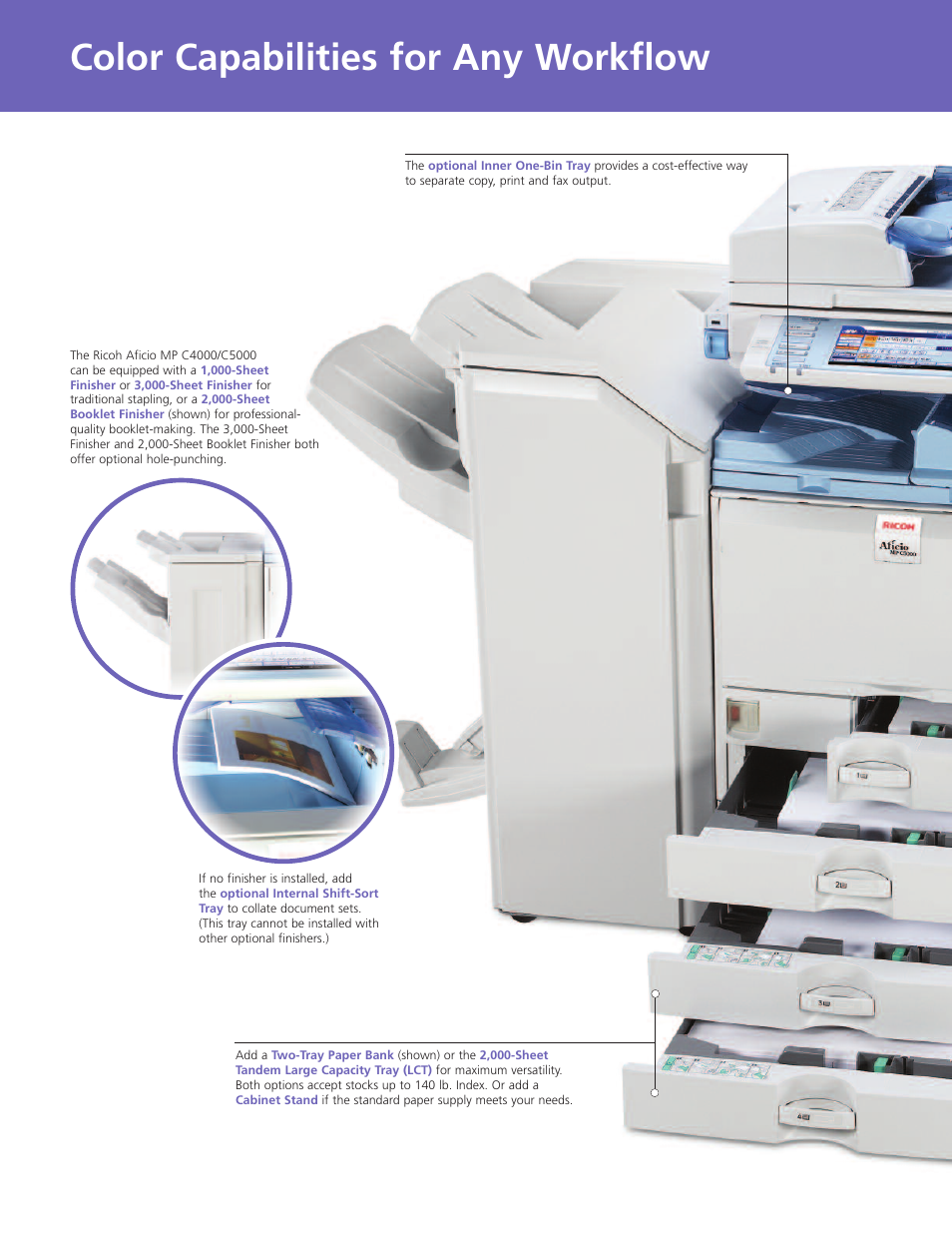 Color capabilities for any workflow | Ricoh Aficio MP C4000 User Manual |  Page 6 / 8