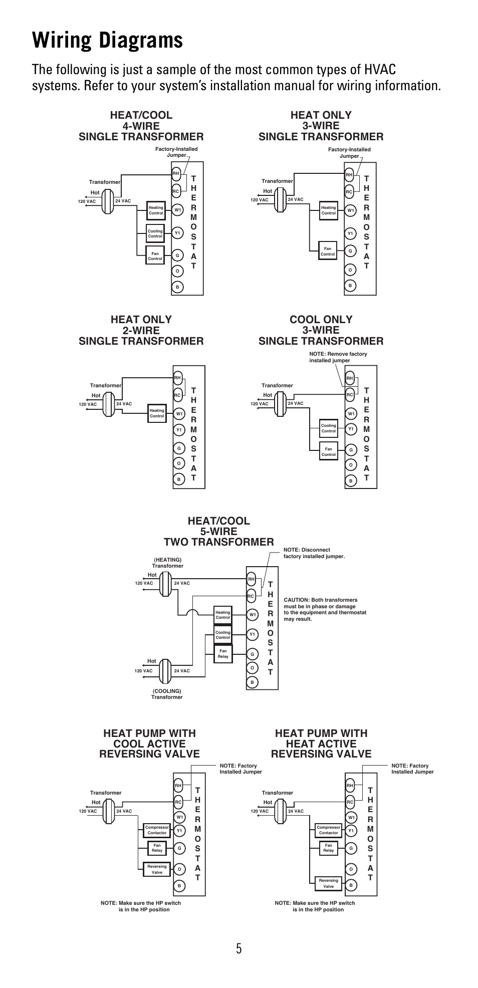wiring diagrams, cool only 3-wire single transformer, heat/cool 5-wire two  transformer | robertshaw 8600 user manual | page 5 / 12