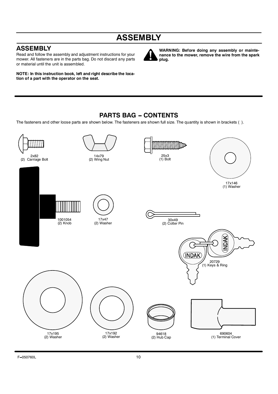 Assembly, Parts bag contents | Rover Clipper 405606x108A User Manual | Page  10 / 52