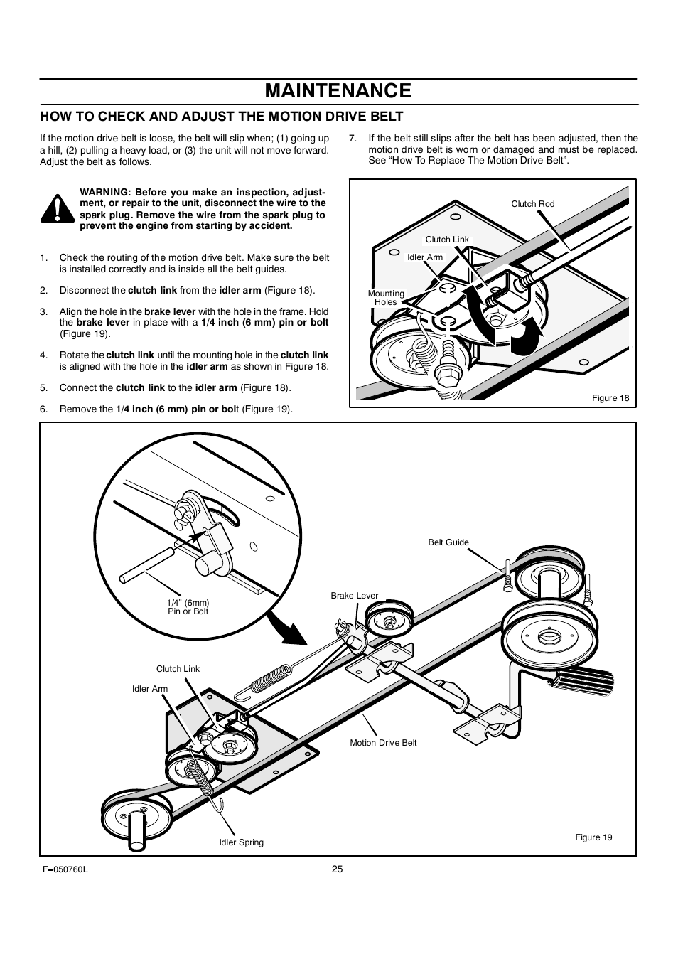 Maintenance, How to check and adjust the motion drive belt | Rover Clipper  405606x108A User