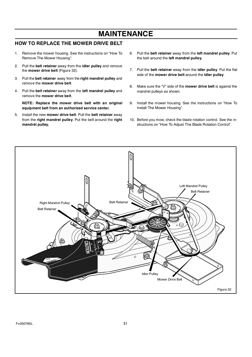 Maintenance, How to replace the mower drive belt | Rover Clipper  405606x108A User Manual |