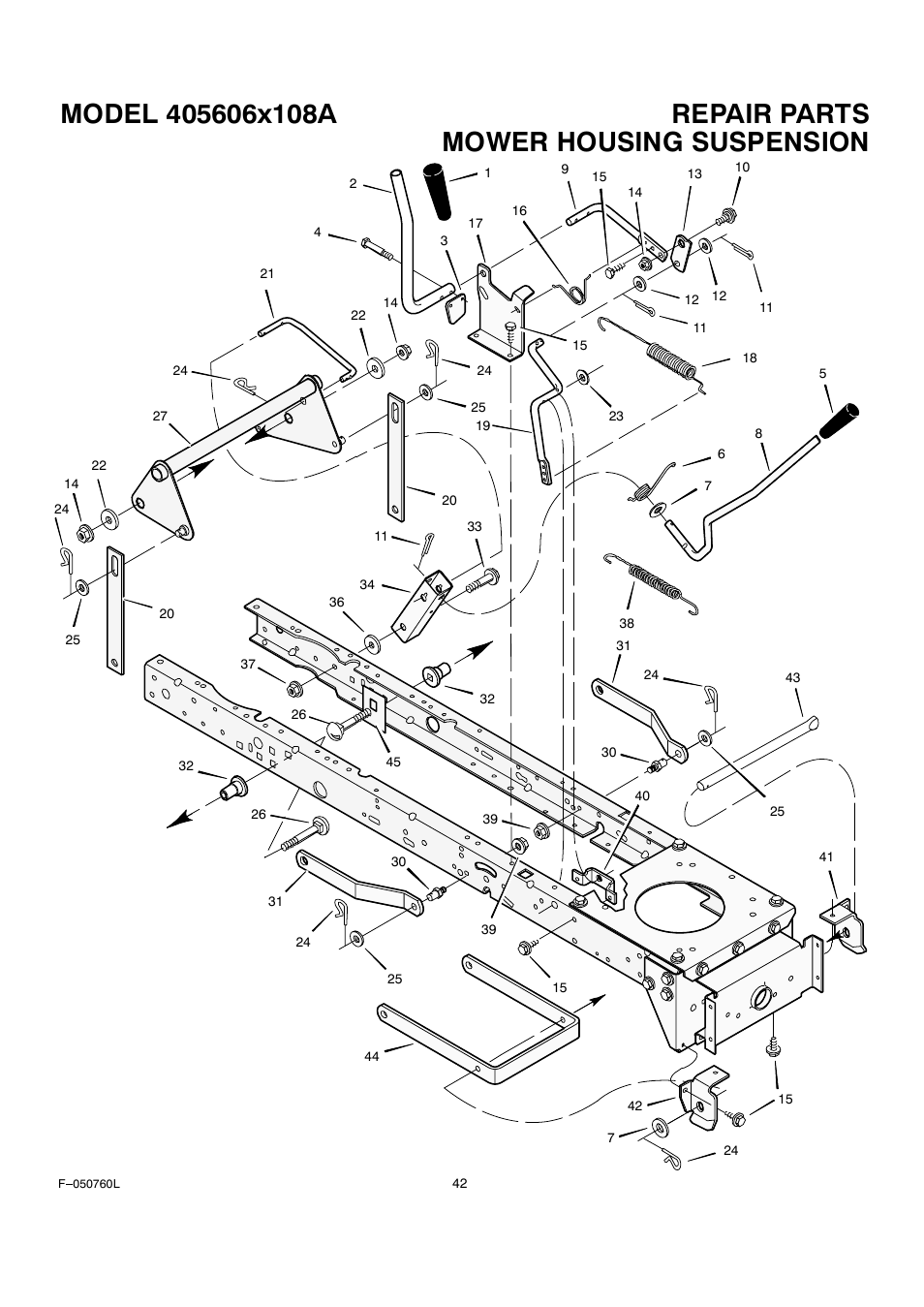 Mower housing suspension | Rover Clipper 405606x108A User Manual | Page 42  / 52