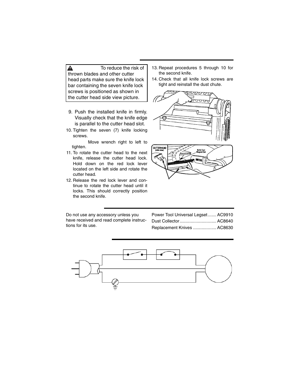 Maintenance (continued), Accessories, Wiring diagram | RIDGID TP1300 User  Manual | Page