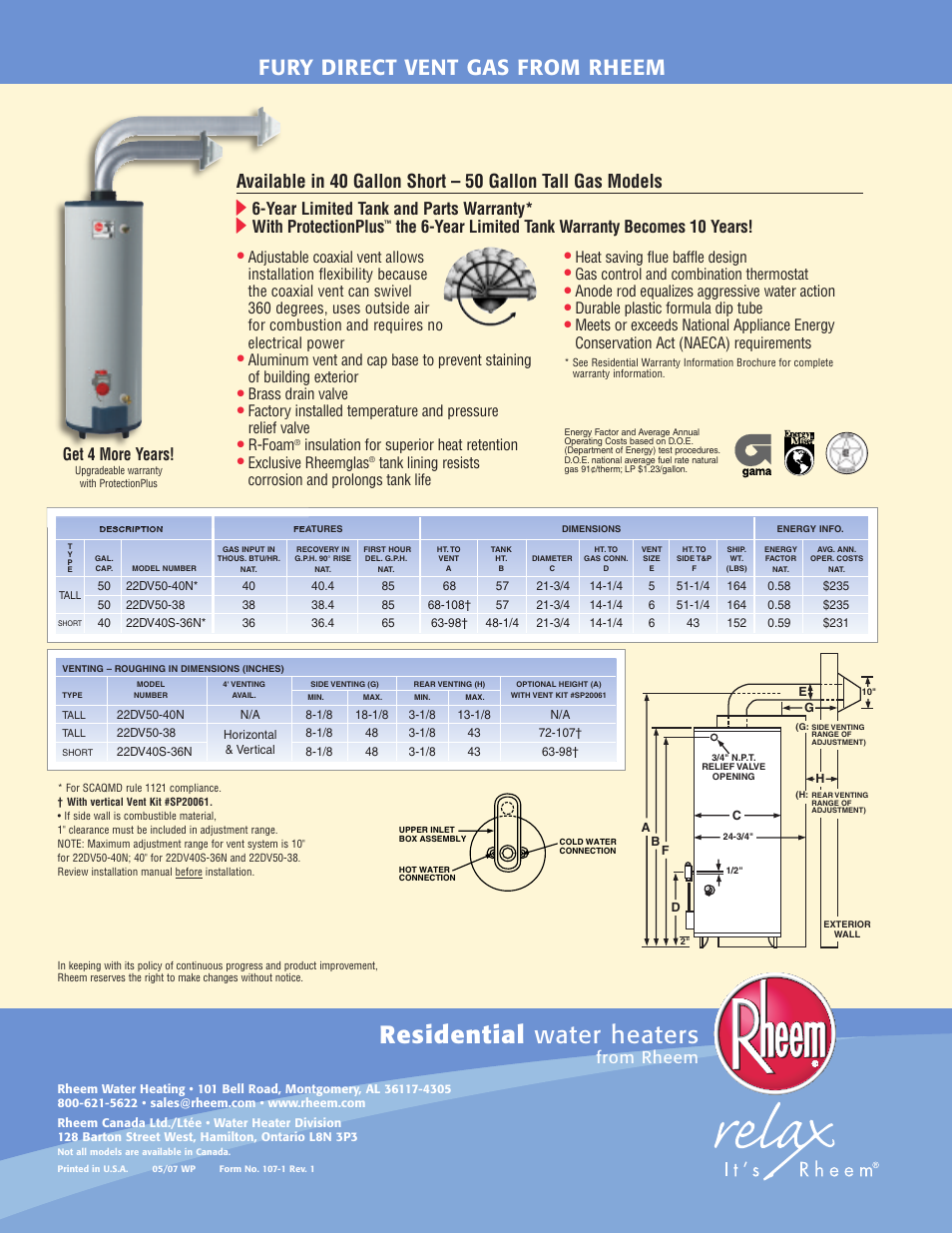 Residential Water Heaters Fury Direct Vent Gas From Rheem