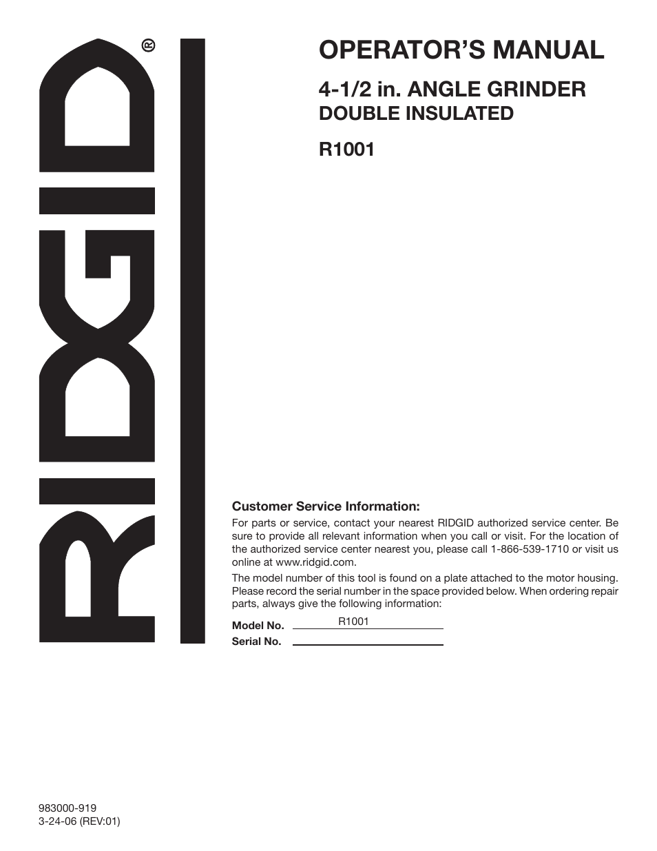 Operator's Manual, 1/2 In. Angle Grinder, Double Insulated