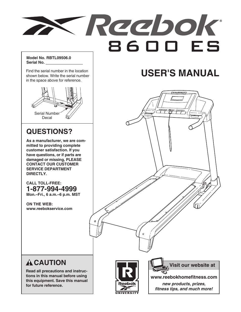 fdb1f6c2432 phoenix 98510 Array - reebok fitness 8600 es treadmill rbtl09506 0 user  manual 36 pages rh manualsdir com Array - reebok jet 300 series ...