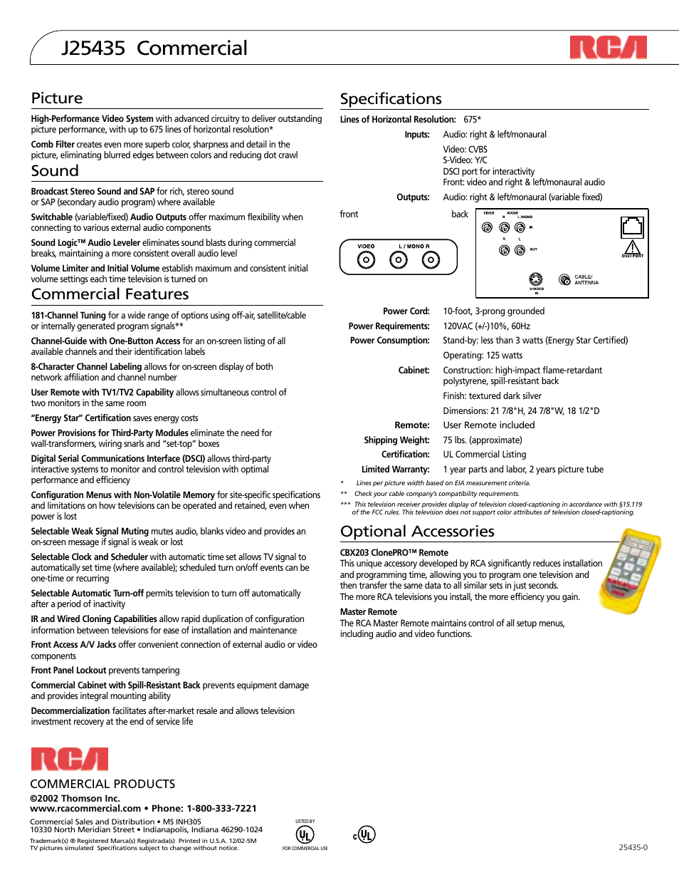 specifications optional accessories picture rca j25435 user rh manualsdir com 38 Special Reloading Data Manuals Manual Icon