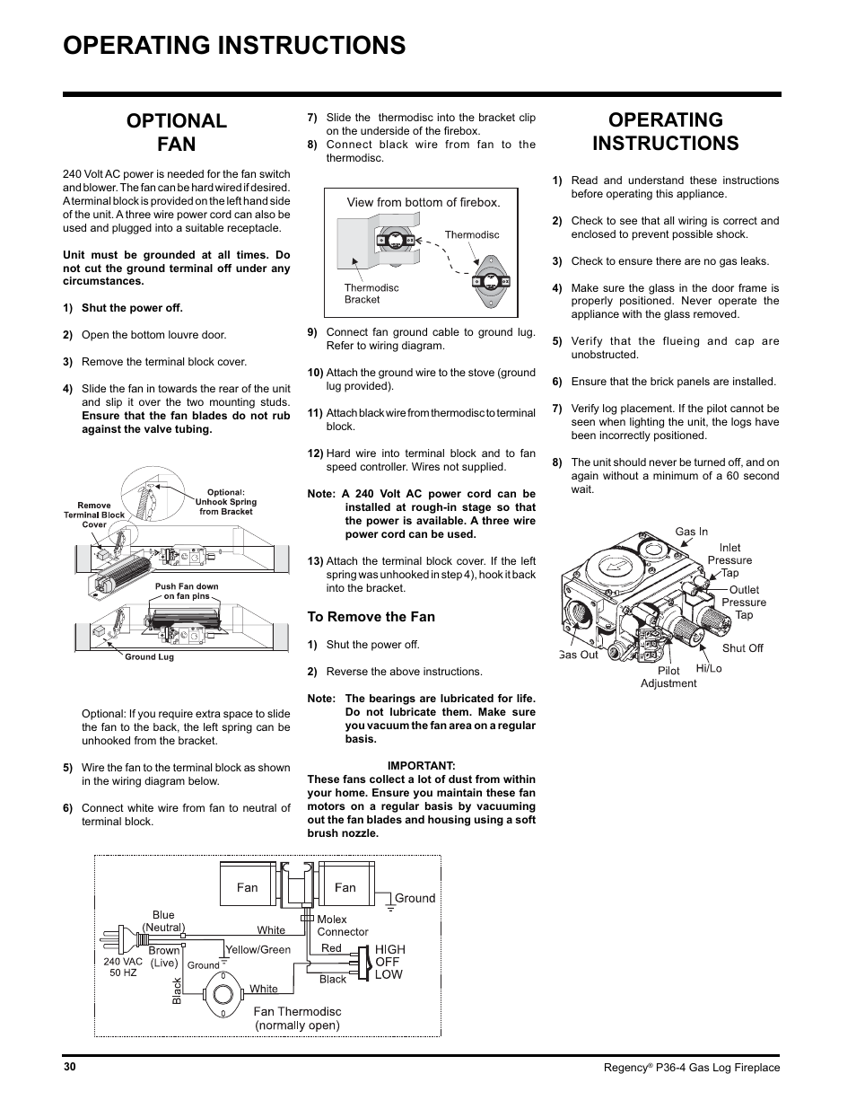 Operating Instructions Optional Fan Regency Wraps P36 Lpg4 User Wire Diagram Manual Page 30 44