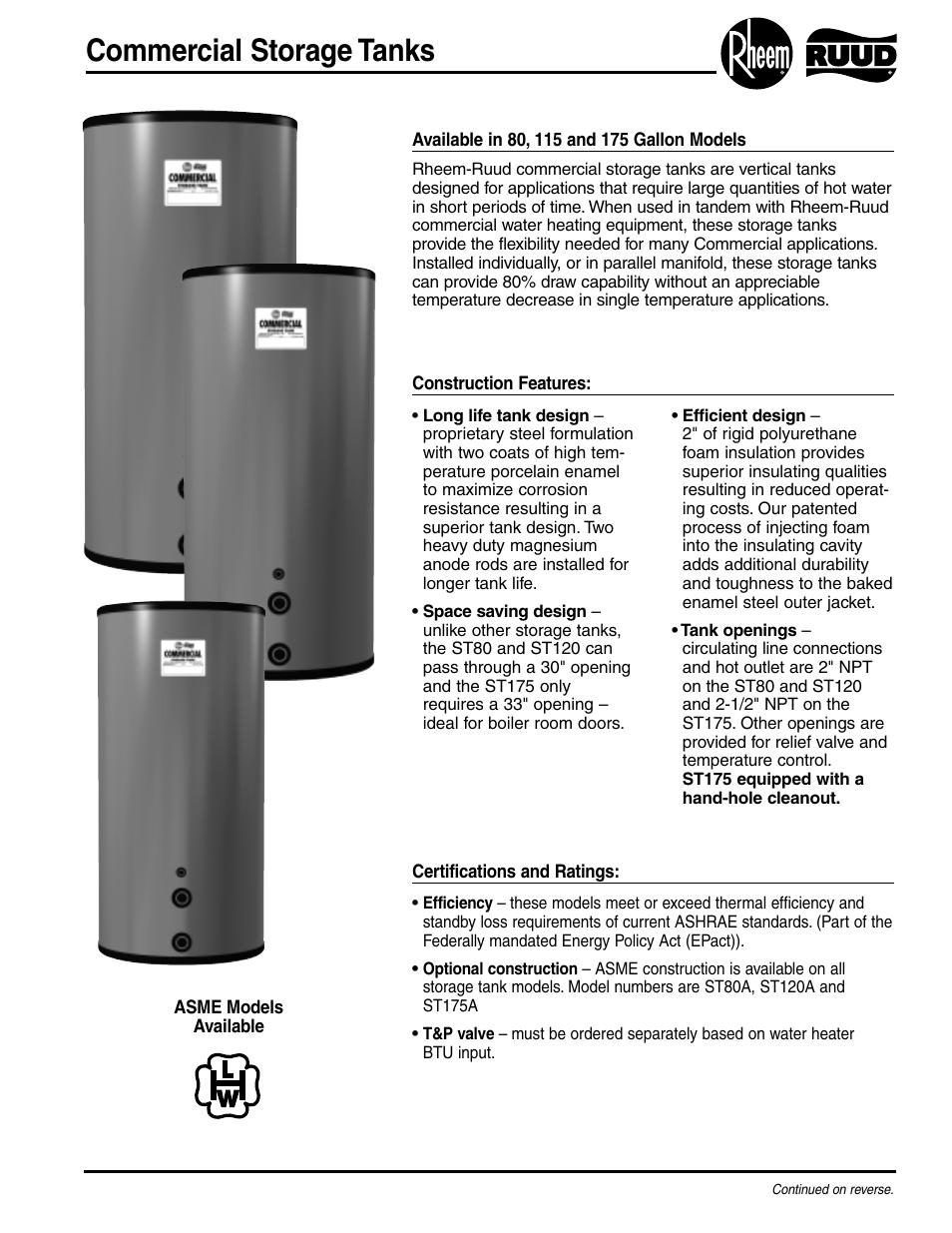 rheem hot water tank manual