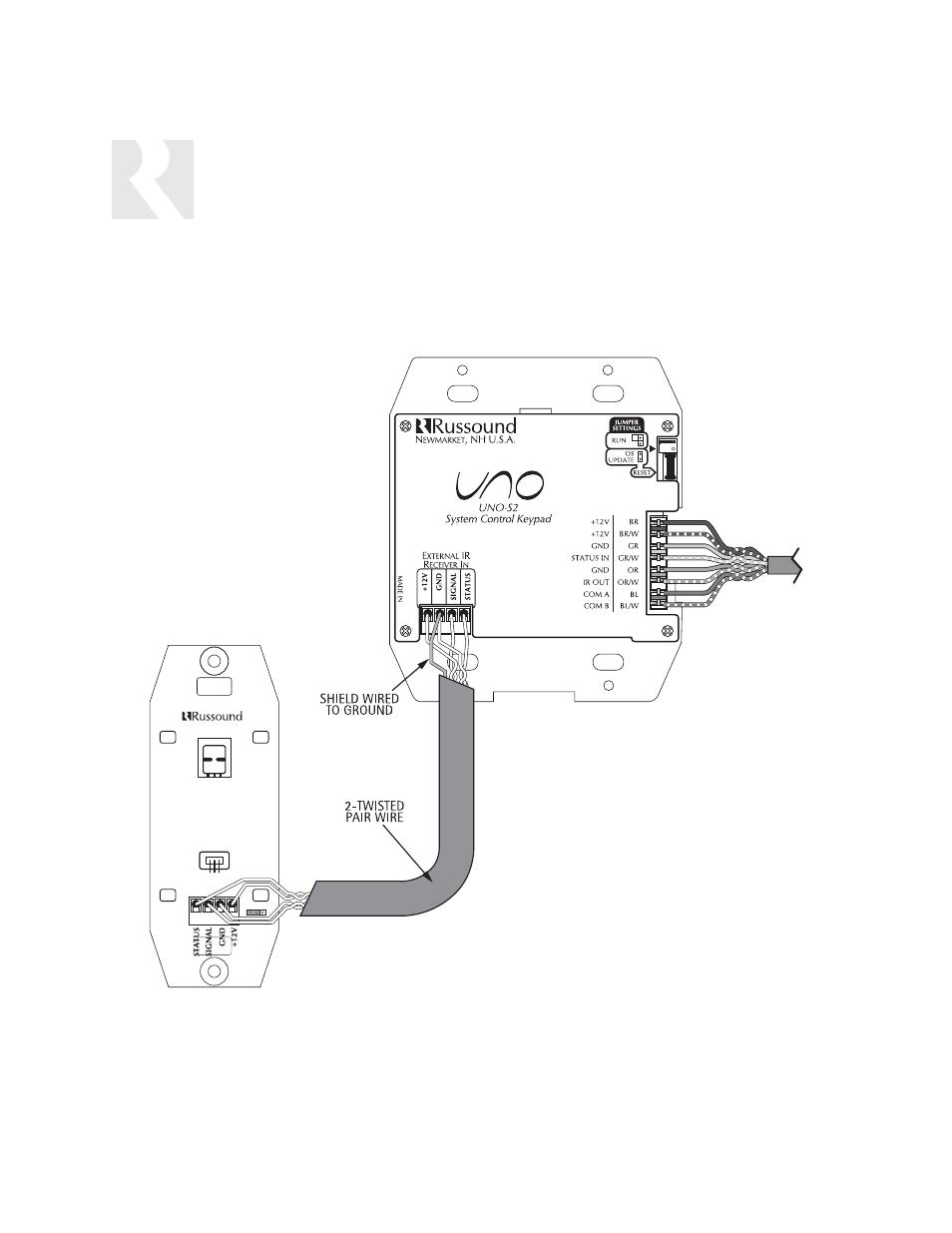 installer, uno-s2 keypad-installation, ir receiver connection | russound  cav6 6 user manual | page 26 / 116