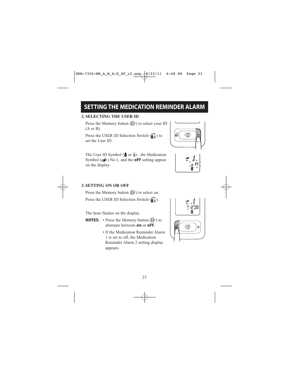 Setting The Medication Reminder Alarm Relion Automatic Blood