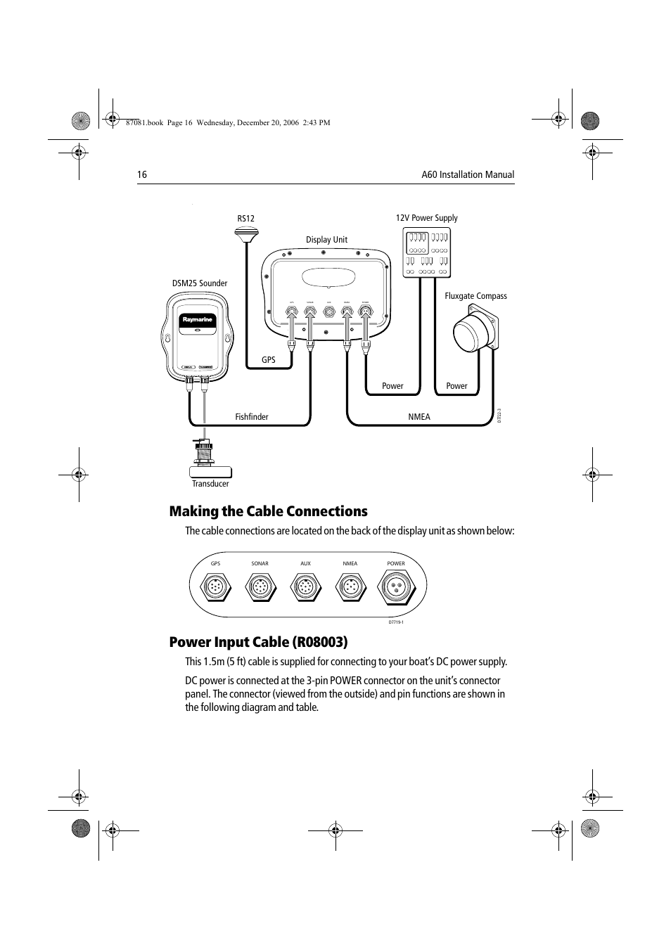 Ray Marine A60 Wiring Diagram Free Download Raymarine E120 Making The Cable Connections User Manual Page 16 50