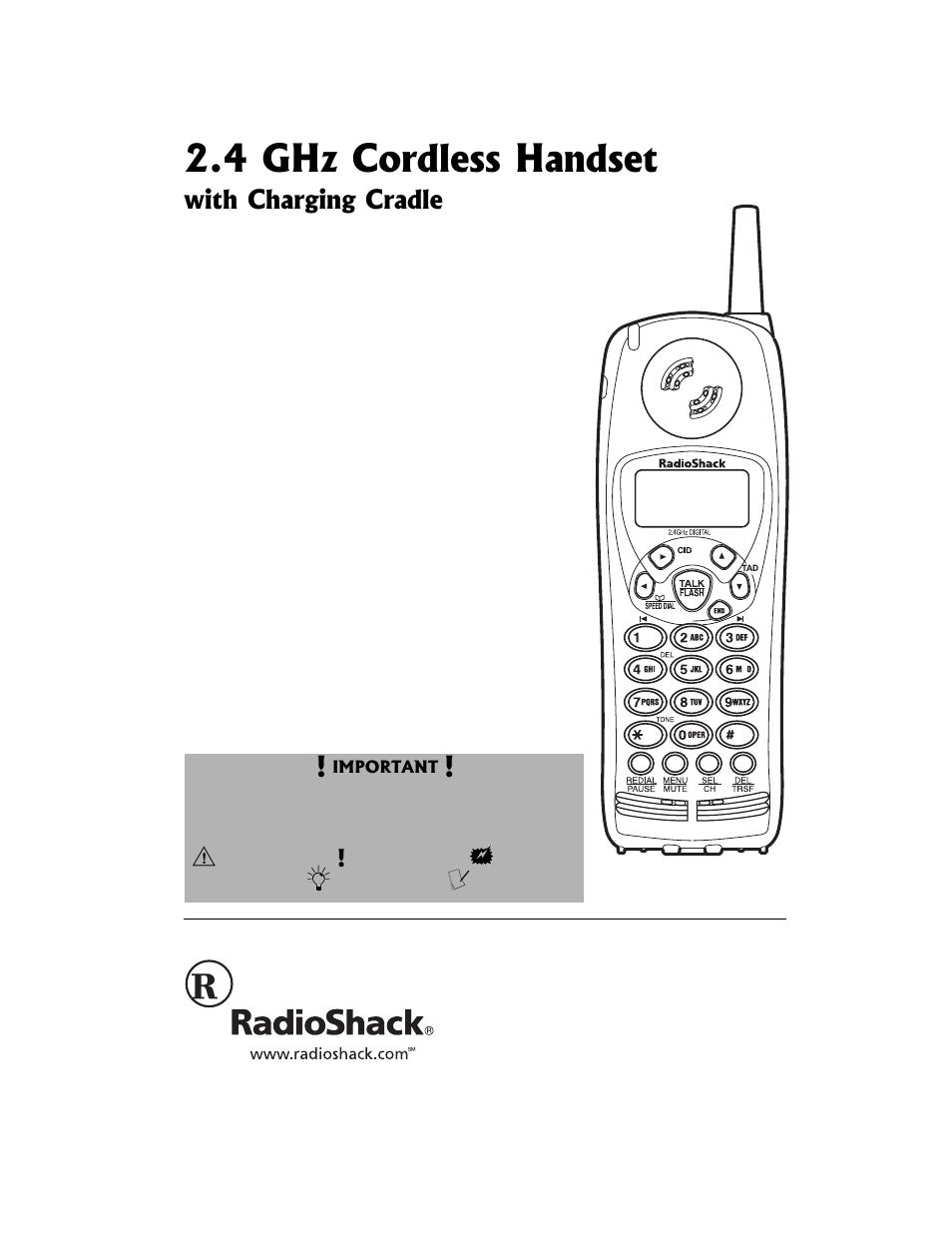 radio shack 2 4 ghz cordless ahndset 43 3538 user manual 8 pages rh manualsdir com Panasonic 2.4Ghz Cordless Phone Radio Shack 2.4 GHz Cordless Phone