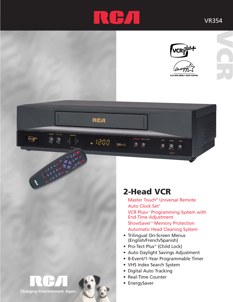 rca vcr vr354 user manual 2 pages rh manualsdir com RCA DVD Player RCA VCR DVD Recorder