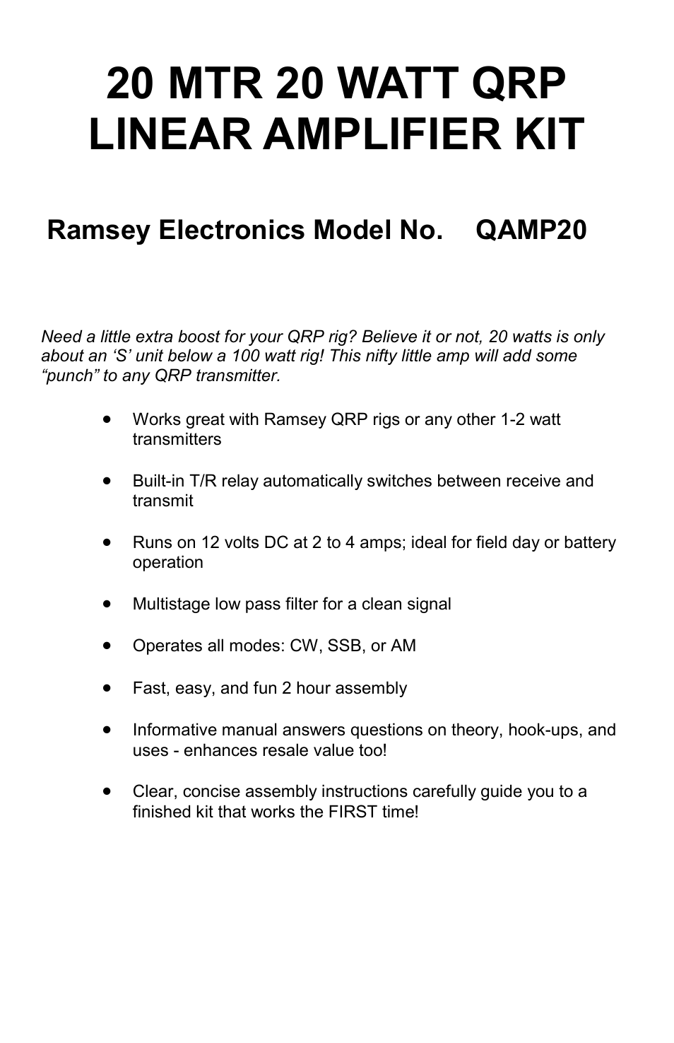 Ramsey Electronics QAMP20 User Manual | 20 pages