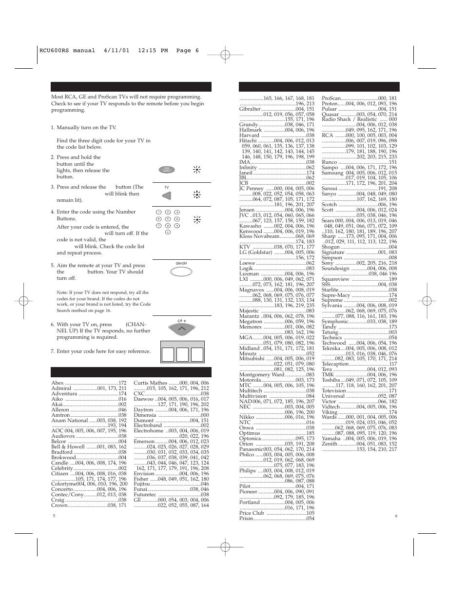 Rca systemlink 6 av rcu600rs manuals.