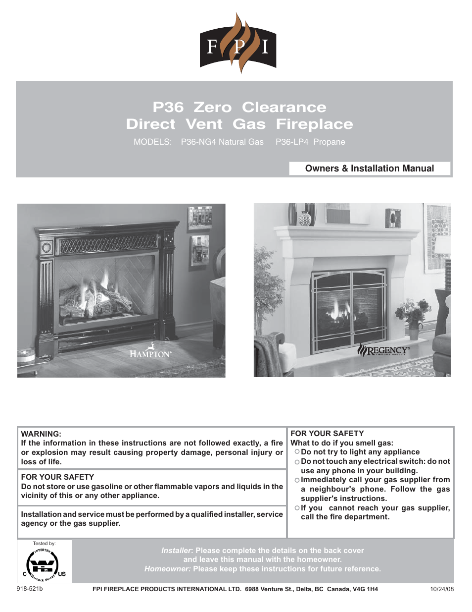 Regency Zero Clearance Direct Vent Gas Fireplace P36-LP4 User ...
