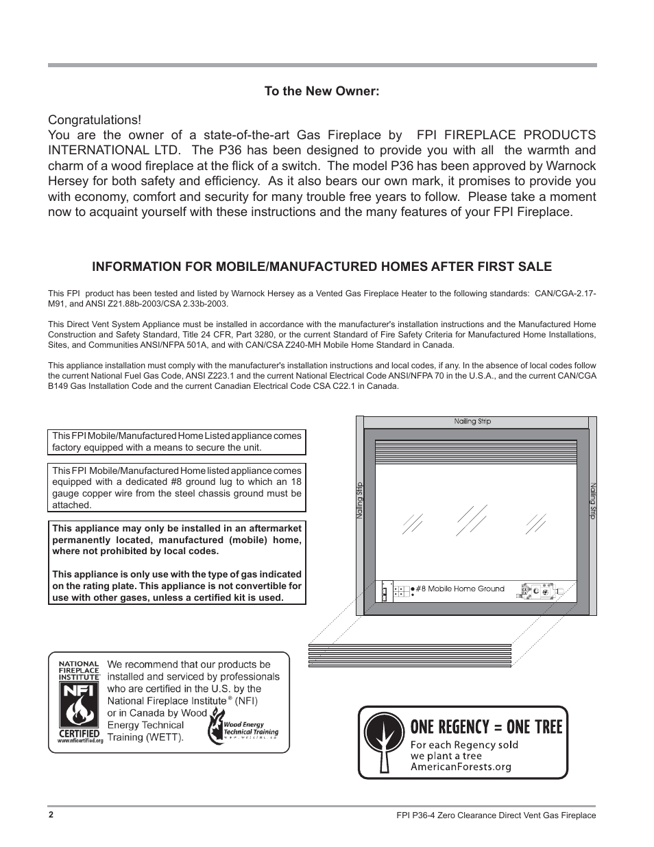 Regency Zero Clearance Direct Vent Gas Fireplace P36 Lp4 User Manual Page 2 68 Also For Ng4