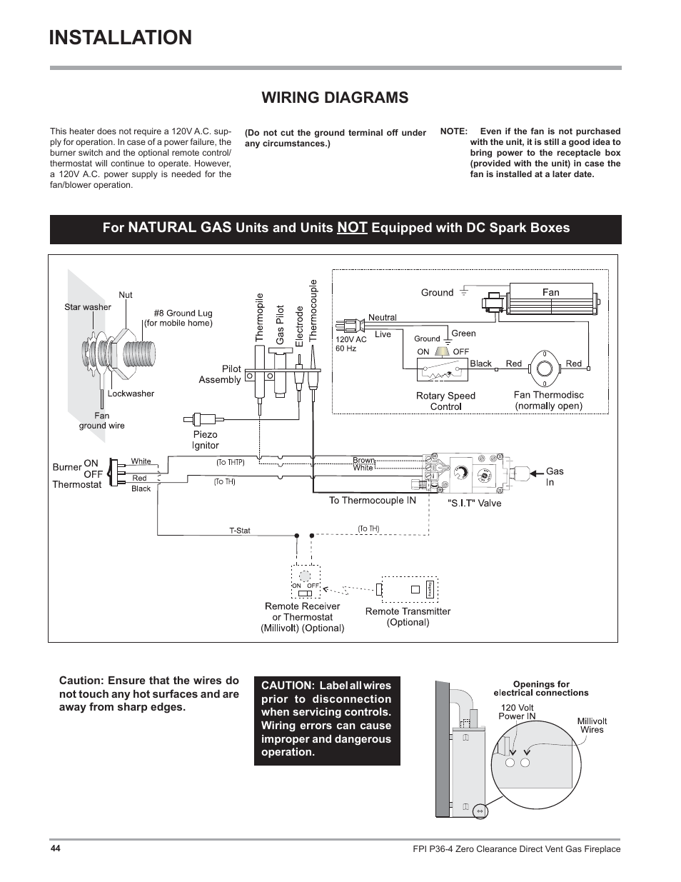 Installation Wiring Diagrams Natural Gas Regency Zero Clearance Fan Wire Diagram Direct Vent Fireplace P36 Lp4 User Manual Page 44 68
