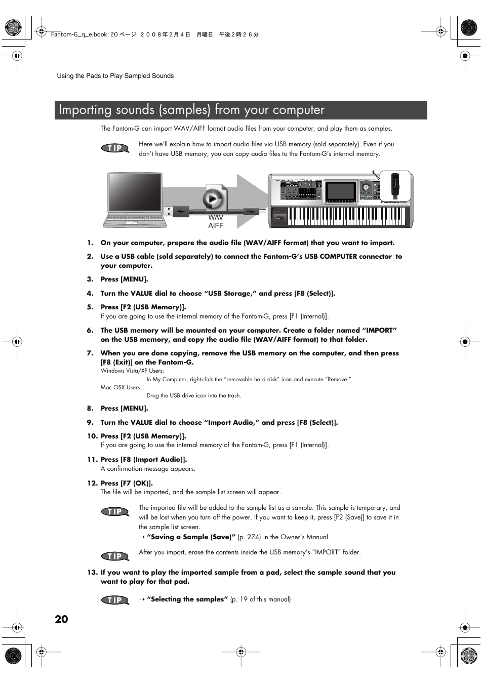 importing sounds samples from your computer roland fantom g8 rh manualsdir com Owner's Manual Instruction Manual Book