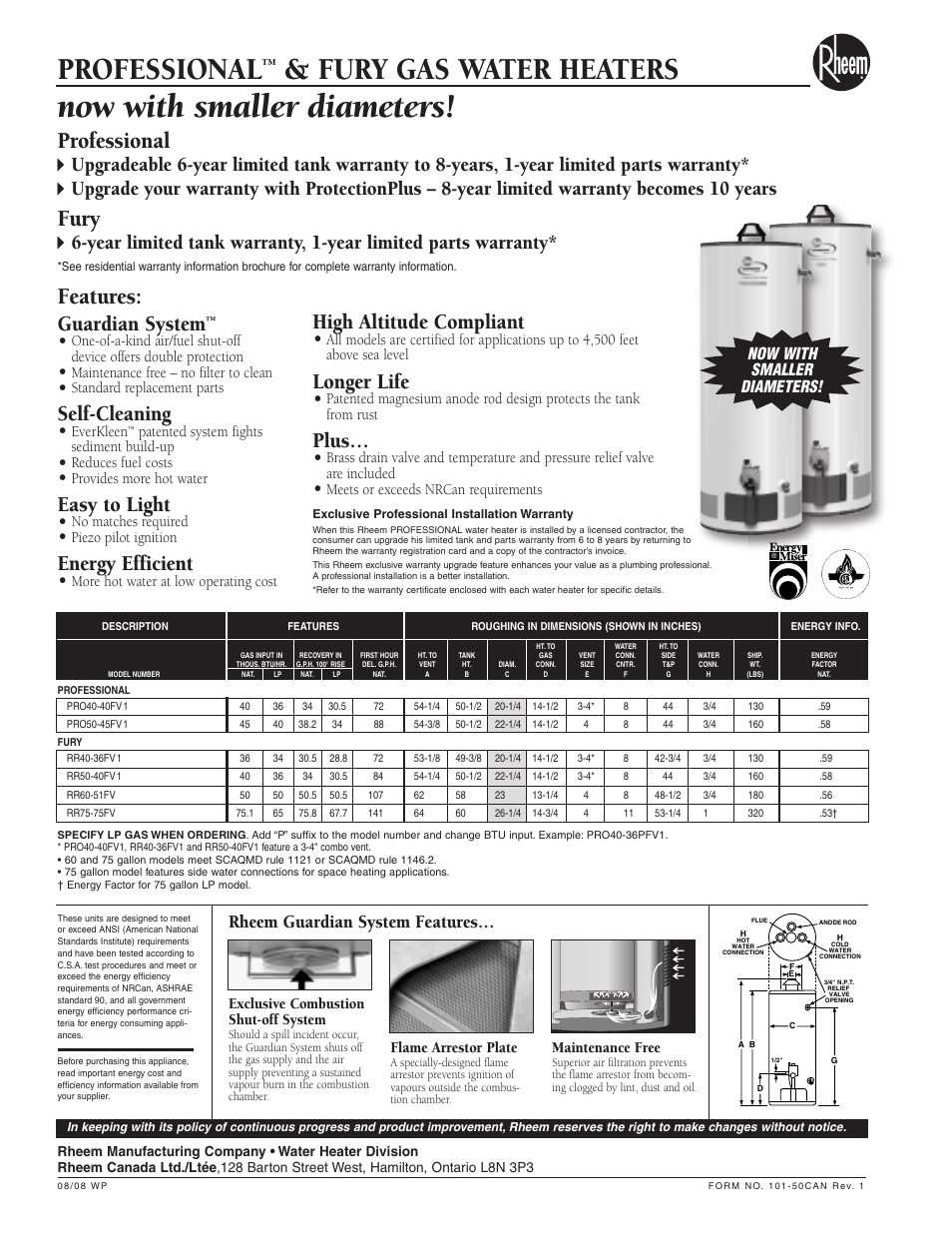 Professional Fury Gas Water Heaters Fury Rheem Fury 50
