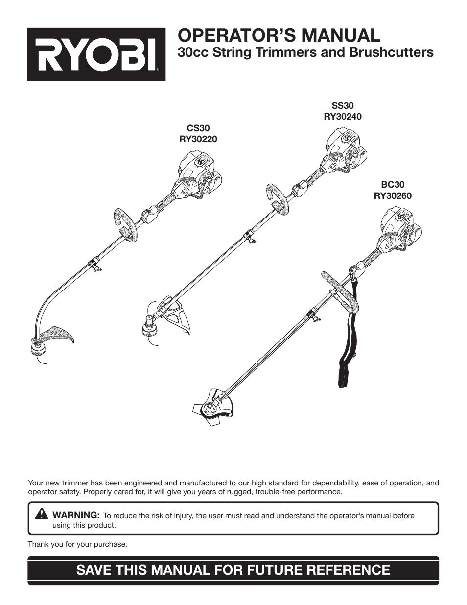 ryobi cs30 ry30220 user manual 26 pages also for bc30 ry30260 rh manualsdir com ryobi string trimmer manual p2035 ryobi string trimmer manual model p2003
