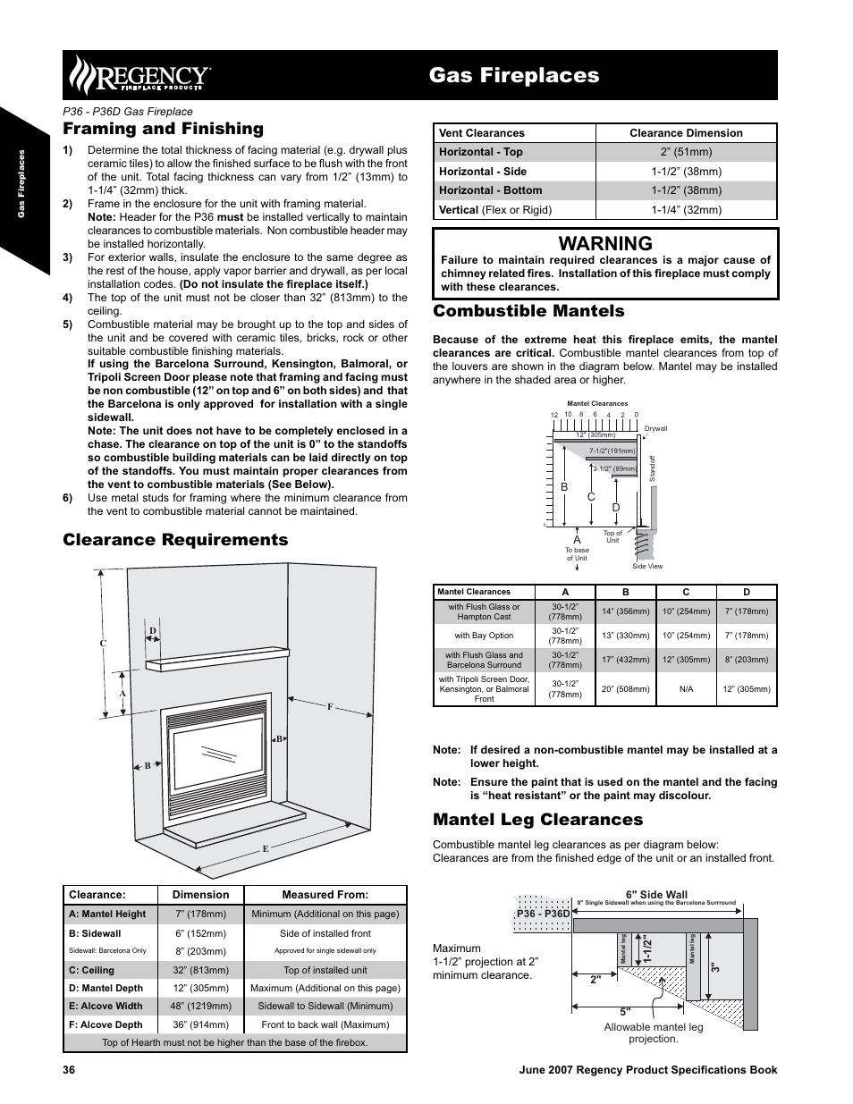 gas fireplaces warning framing and finishing regency zero rh manualsdir com