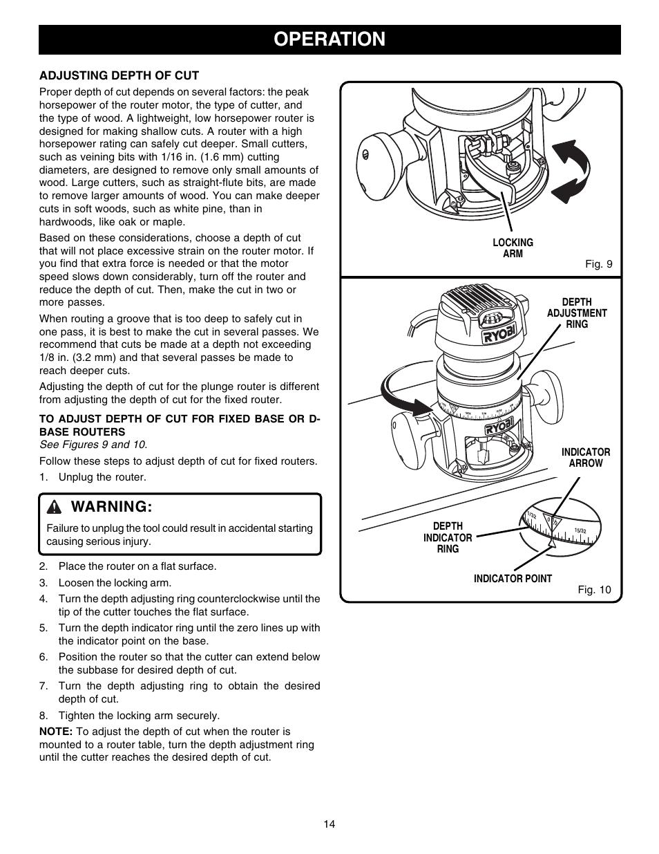Operation Warning Ryobi R181fb1 User Manual Page 14 24 border=