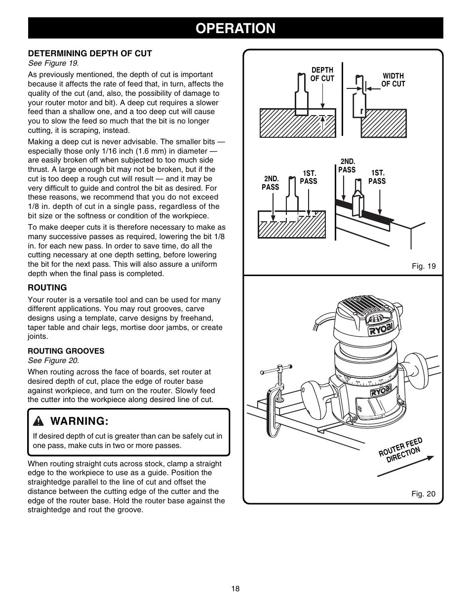 Operation, warning | ryobi r181fb1 user manual | page 18 / 24.