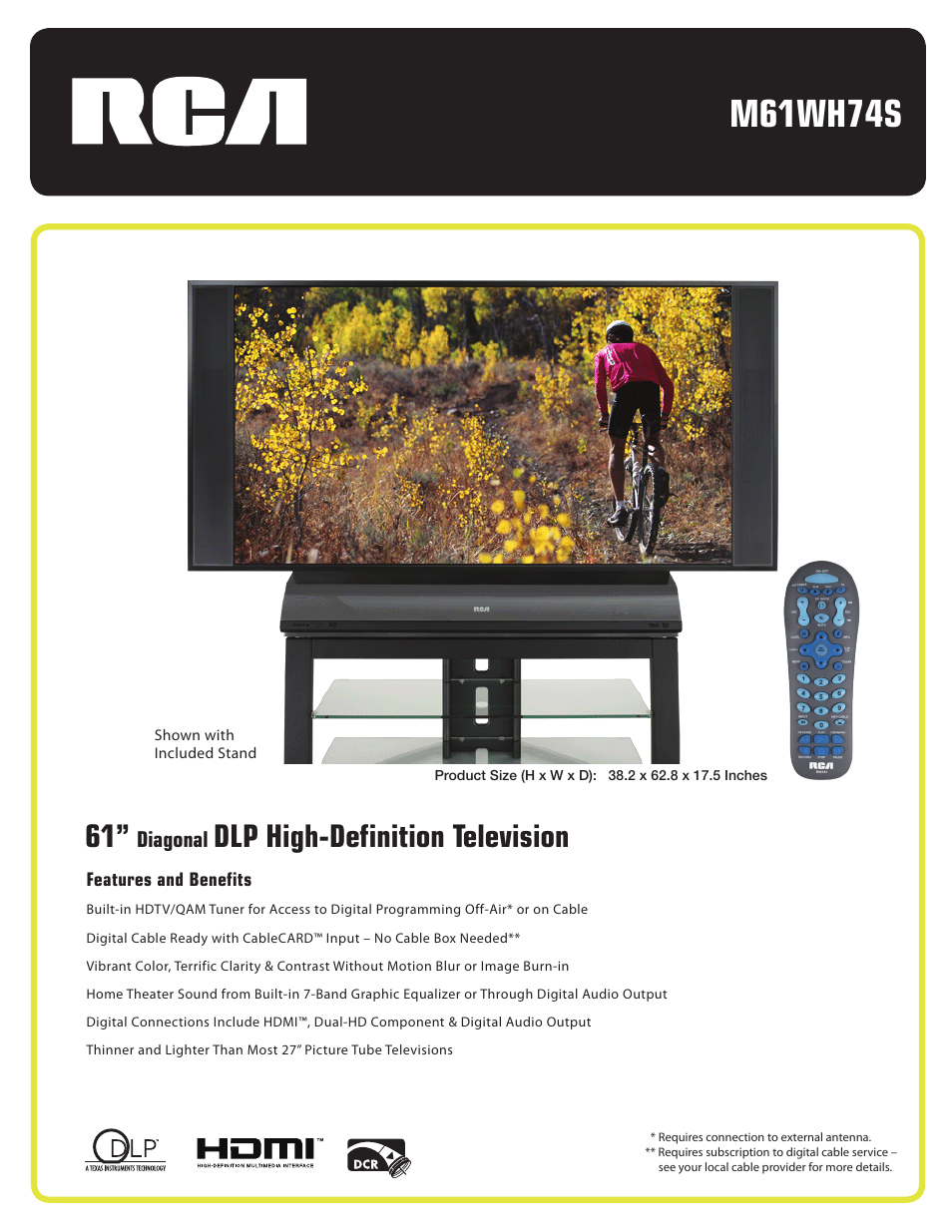 rca m61wh74s user manual 2 pages rh manualsdir com RCA DLP 50 RCA 60 DLP TV