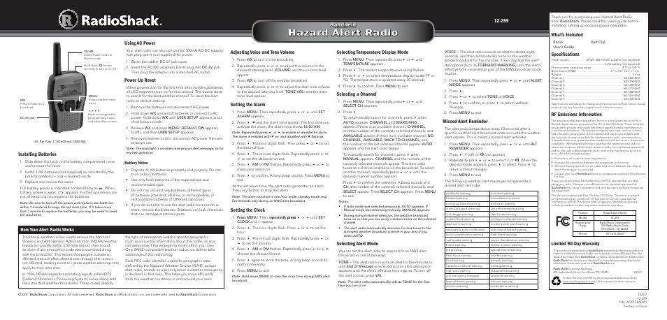radio shack 12 259 user manual 2 pages rh manualsdir com radio shack 12-259 manual Radio Shack Electronic Parts