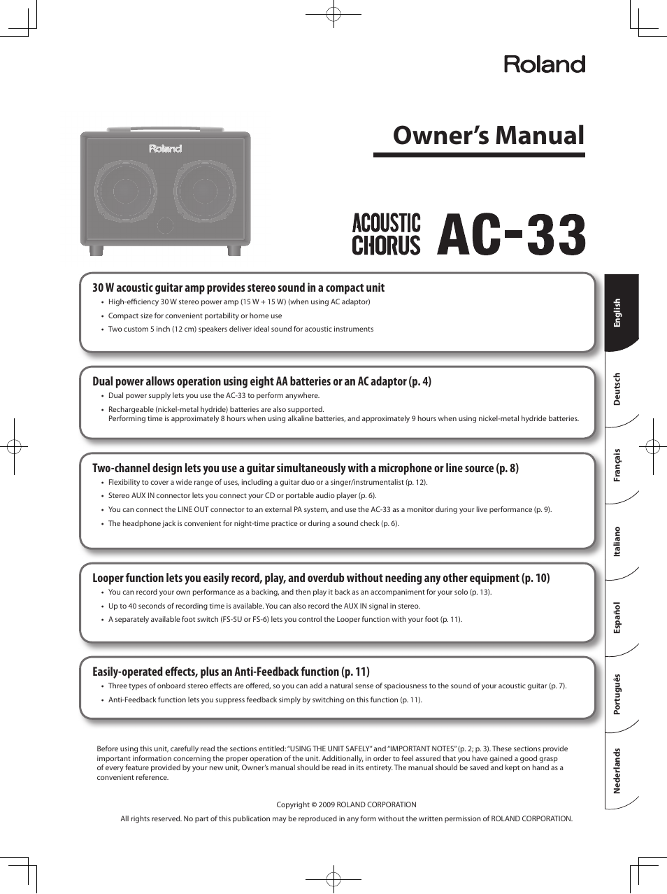 roland acoustic chorus ac 33 user manual 17 pages rh manualsdir com Roland Ac- 40 roland ac-33 user manual