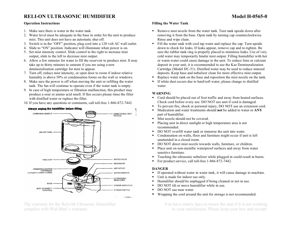 Relion Reli On Ultrasonic Humidifier Model H 0565 0 User Manual 2