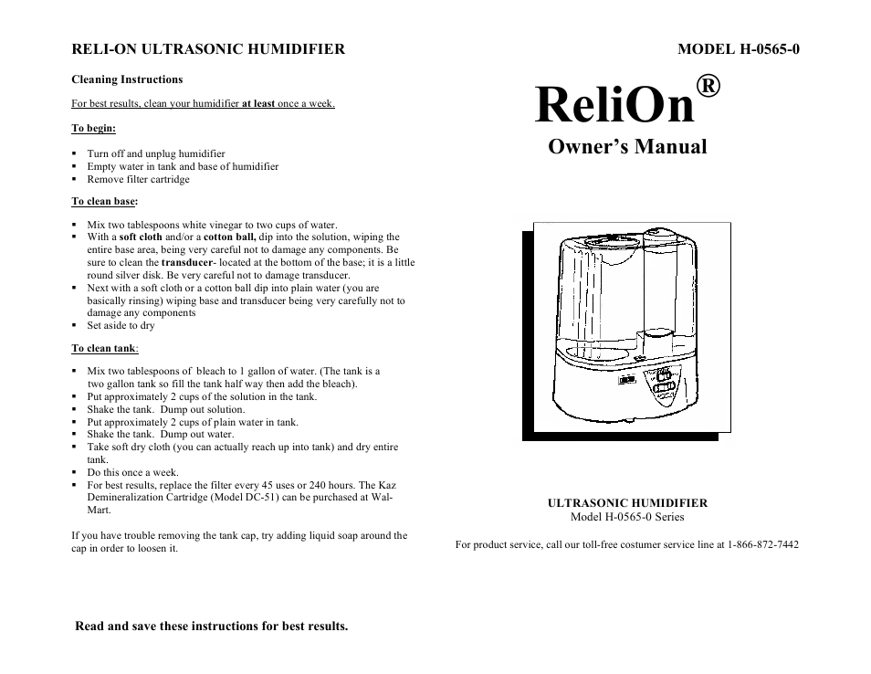 Relion Owner S Manual Relion Reli On Ultrasonic