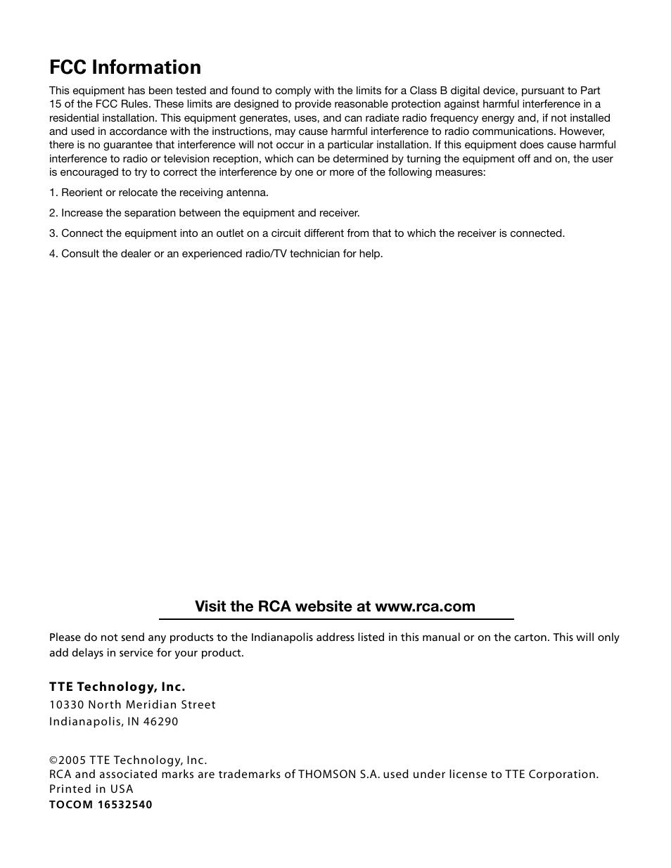 rca website manual on