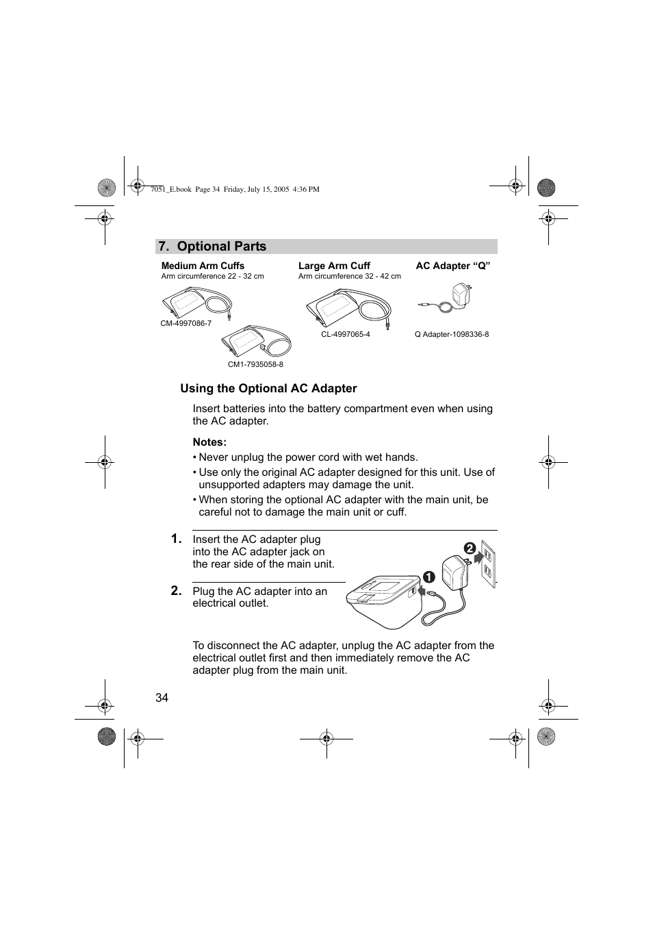 Optional parts | Omron Healthcare M3 User Manual | Page 34 / 38