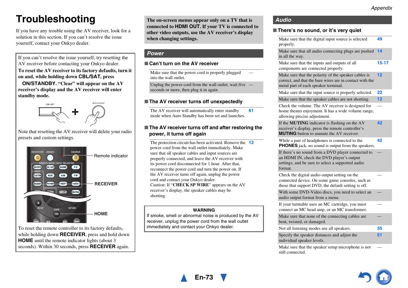 Appendix, Troubleshooting, En-73 | Onkyo AV Receiver HT-R791 User
