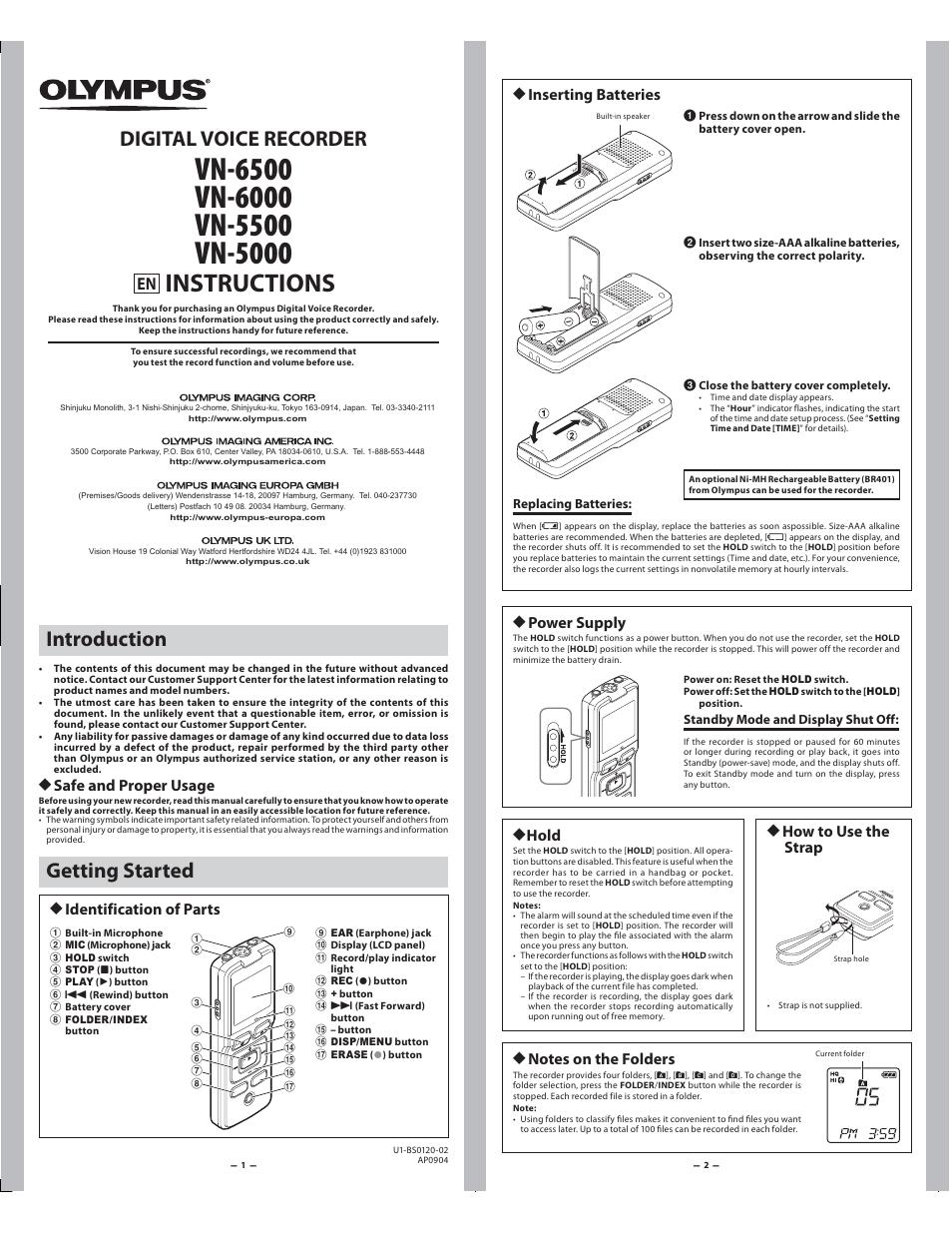 Olympus VN-5500 EN User Manual | 5 pages