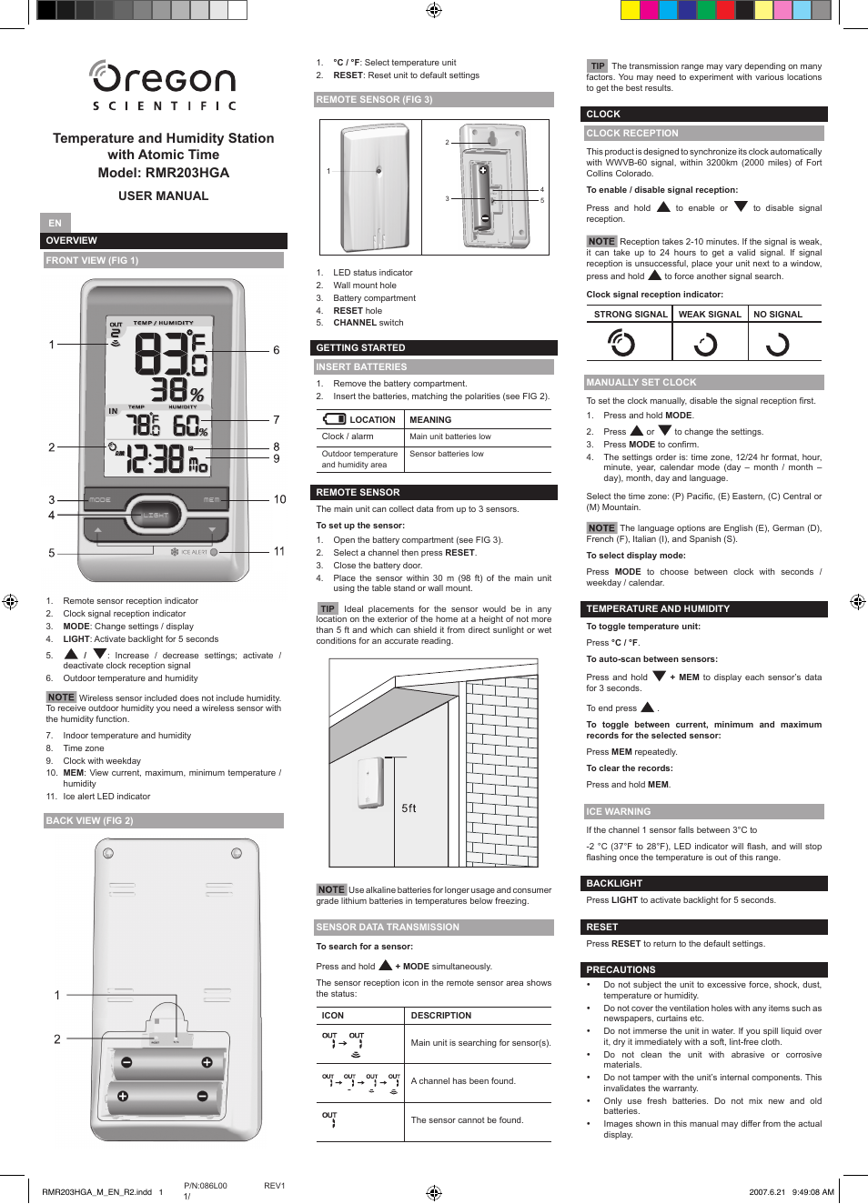 Oregon Scientific Rmr203hga User Manual 2 Pages