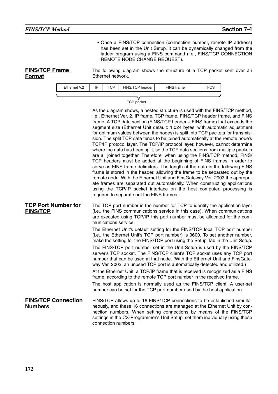 Fins/tcp frame format, Tcp port number for fins/tcp, Fins